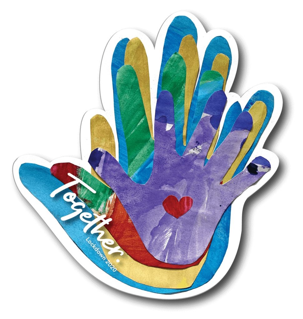 Family TOGETHER handprint keepsake window cling