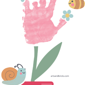 Flower pot with handprint flower - personalized gift - window cling for kids