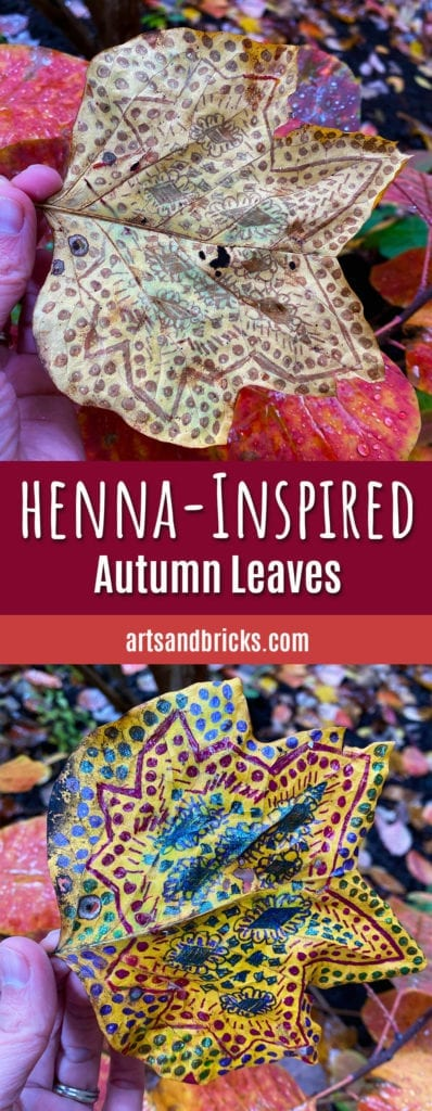 Use colorful gel pens to decorate fall leaves. Bright glittery colors on one side and soft henna-inspired patterns on the other! So fun. So simple. So beautiful. Easy for kids and delightful for adults. Enjoy! #halloween #indoor activities with kids #inspiration #kids art #kids crafts #leaf art #leaf art ideas #mom blog