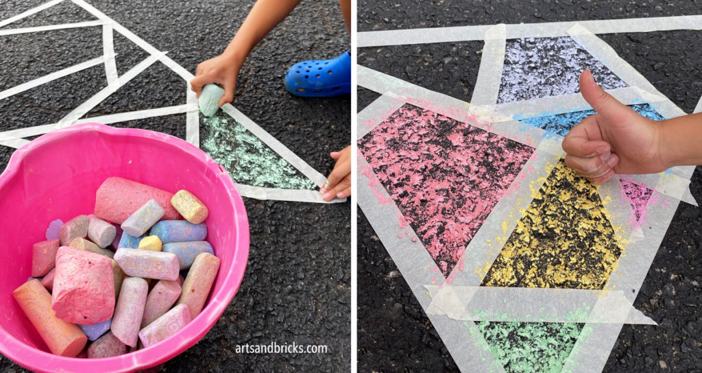 """Have you ever looked at your bucket of sidewalk chalk and thought, """"What do we do with this?"""" Today, I'm here to inspire you with a very simple, family-friendly outdoor chalk art project. All you need is chalk, tape and a little creativity!"""