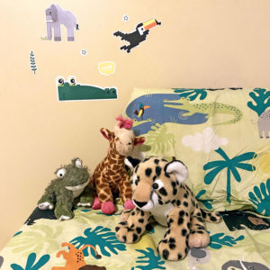 Jungle wall decal stickers on wall - elephant, crocodile, alligator, toucan built from Lego bricks