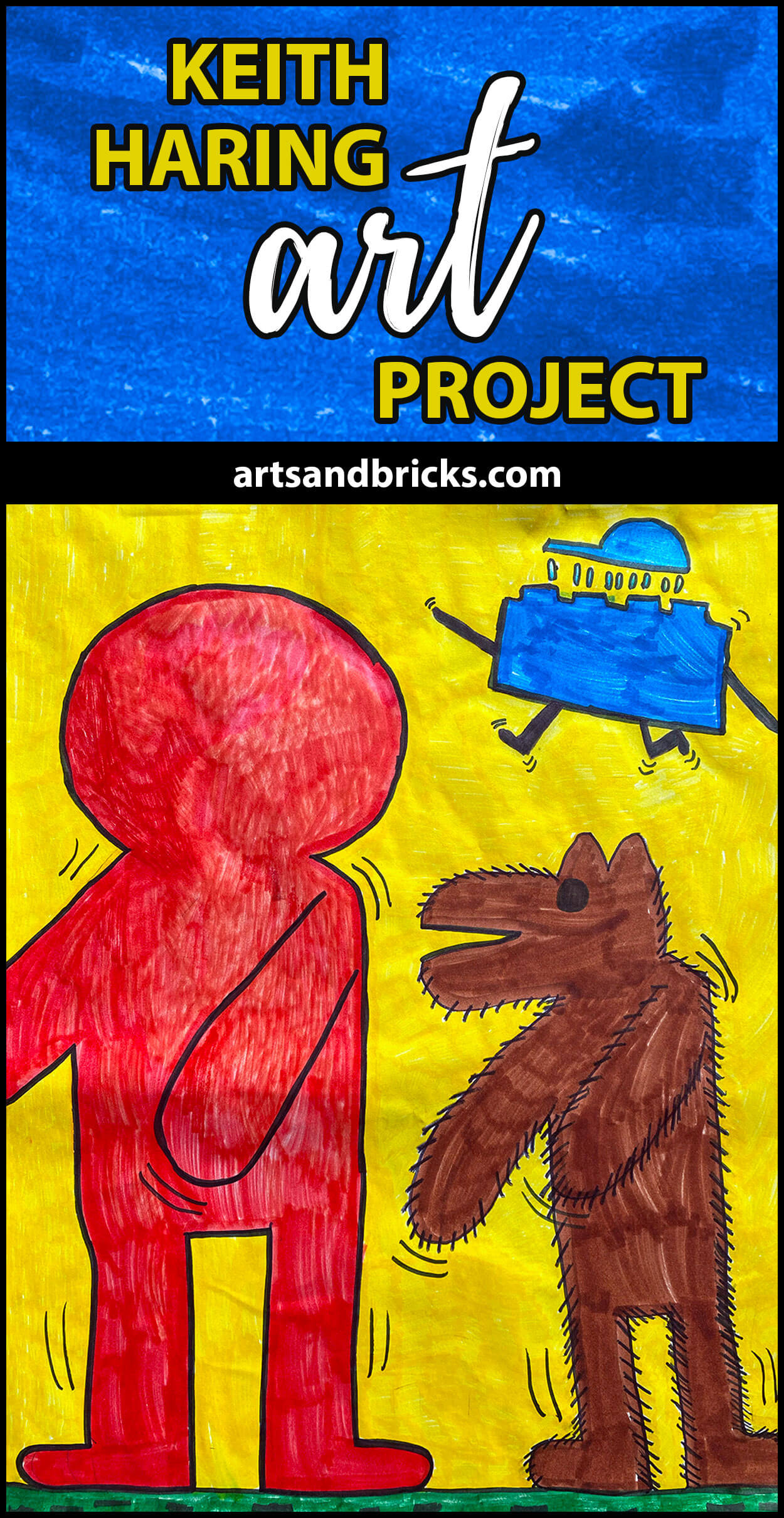 Explore this idea on how to make your own Keith Haring-inspired Kids Art Project. Learn what characteristics make Keith's work unique -- like motion lines, bright solid colors and cartoon styled faceless people. Our final artwork includes our very own The Hairy Dog, The Dancing Boy and The Blue Lego Brick. #keithharing #art #artclassroom #lego