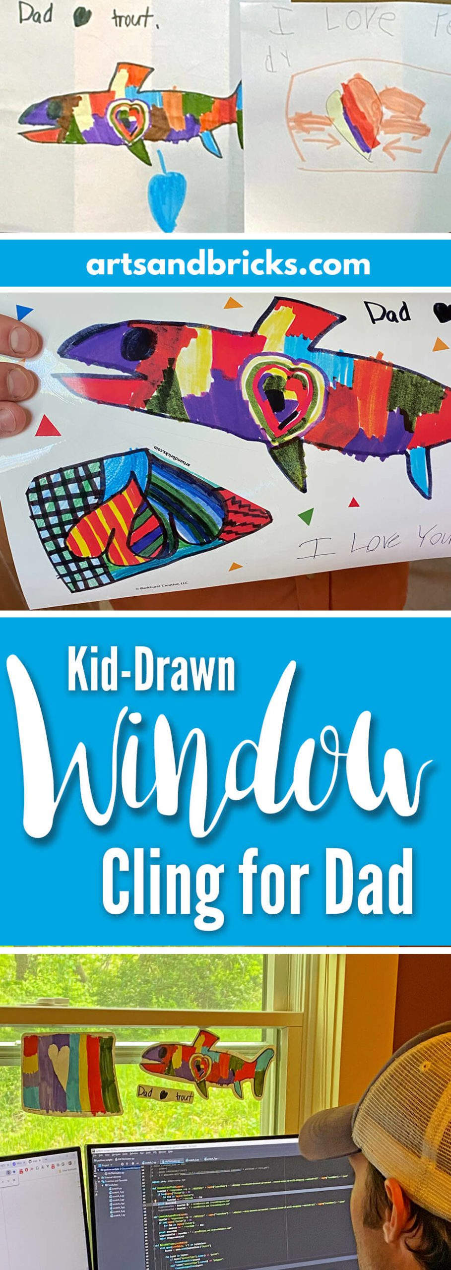 Looking for a unique gift for Dad? Turn your child's drawn images into window decals - perfect for windows and mirrors at the office or at home! #gift #fordad #fromkids #fathersday #kidsart