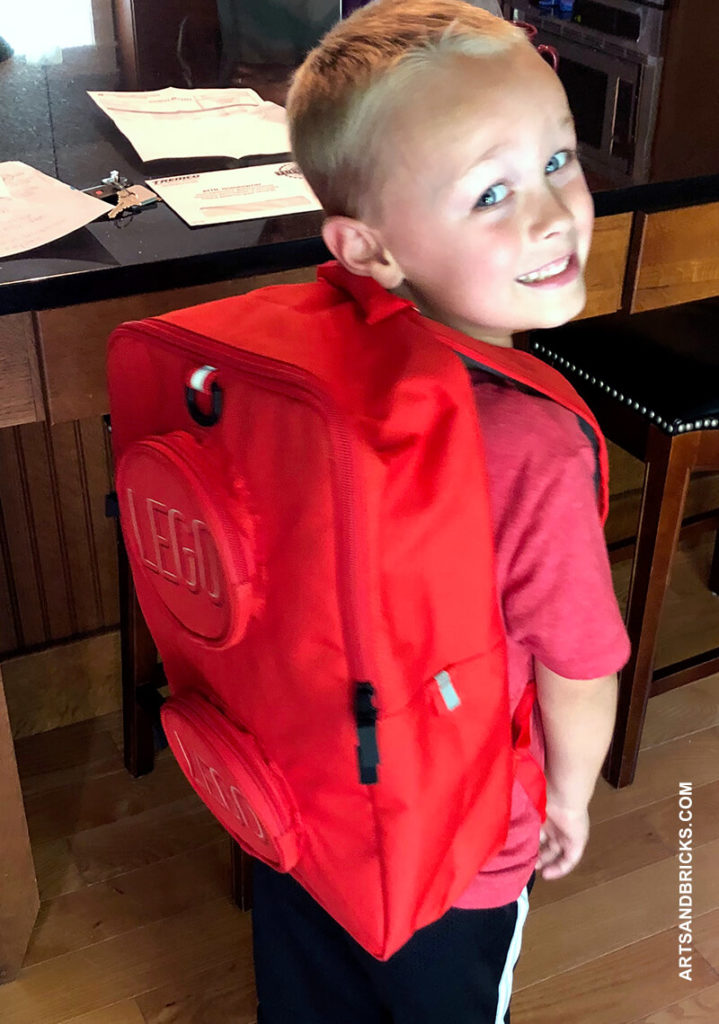 By far, our favorite LEGO school necessity is the LEGO Brick Backpack. We have it in red and purchased it directly from LEGO. It's very well made with thick fabric and strong zippers; ours is a year old and based on its current wear-and-tear it is going to last for several years to come!
