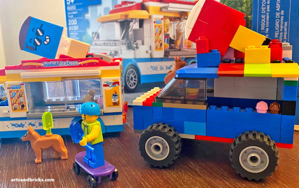 A fun summer set, the LEGO City Ice Cream Truck serves up popsicles and ice cream to hungry Minifigures and pets!