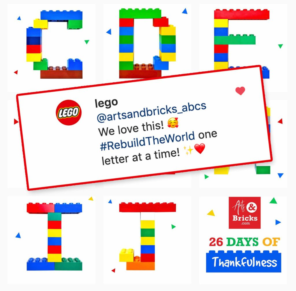 We love this! #RebuildTheWorld one letter at a time! - From @Lego on Instagram