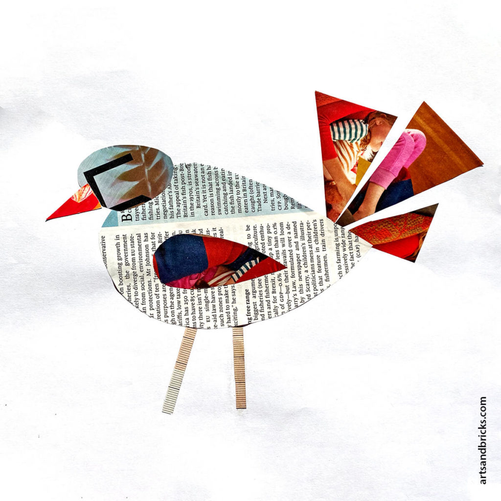 Bird collage created with magazine clippings