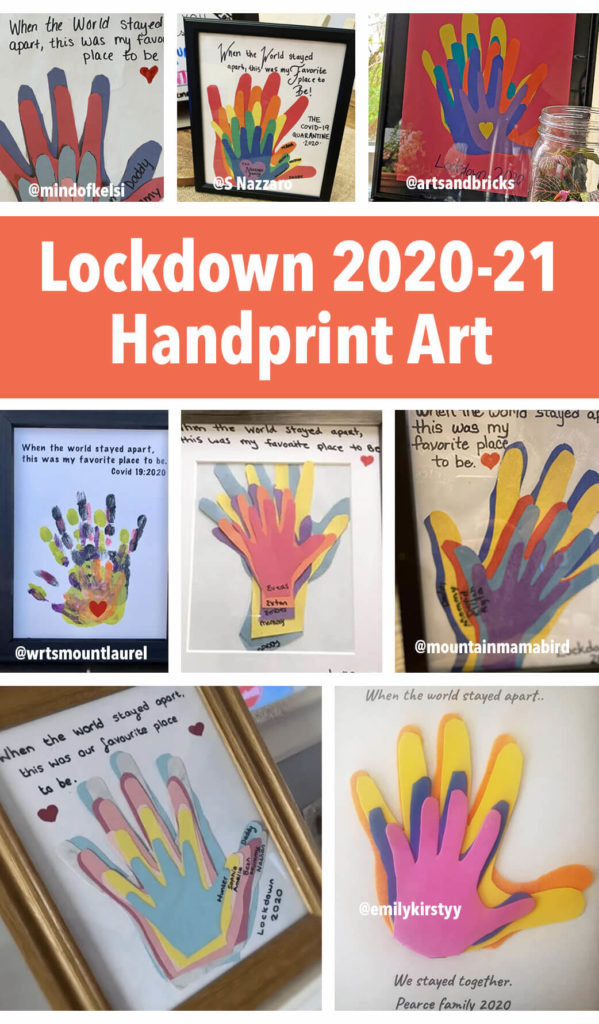 """During this year of lockdown and coronavirus quarantines, create this family handprint craft. """"When the world stayed apart, together was our favorite place to be!"""" - Roundup of designs for inspiration! #family #handprint #crafts #forkids #coronavirus #stayathome"""