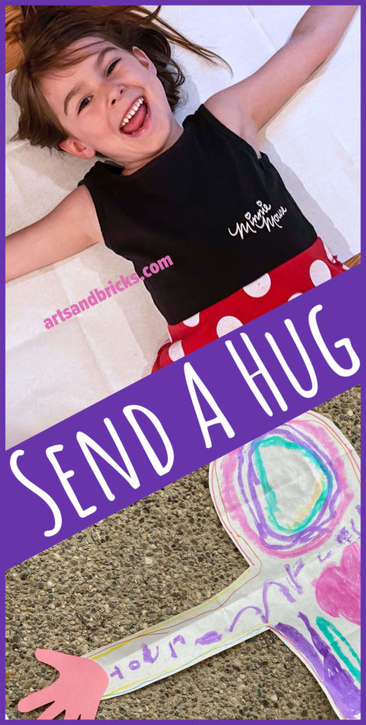 Send a hug and brighten someone's day! Send a hug from your child. This simple family-friendly craft is perfect for quarantine, grandparents day, deployed parents and more! Get inspired and learn how to create your own from our blog. #diycraft #familyfriendly #shareahug #makeahug #mailahug