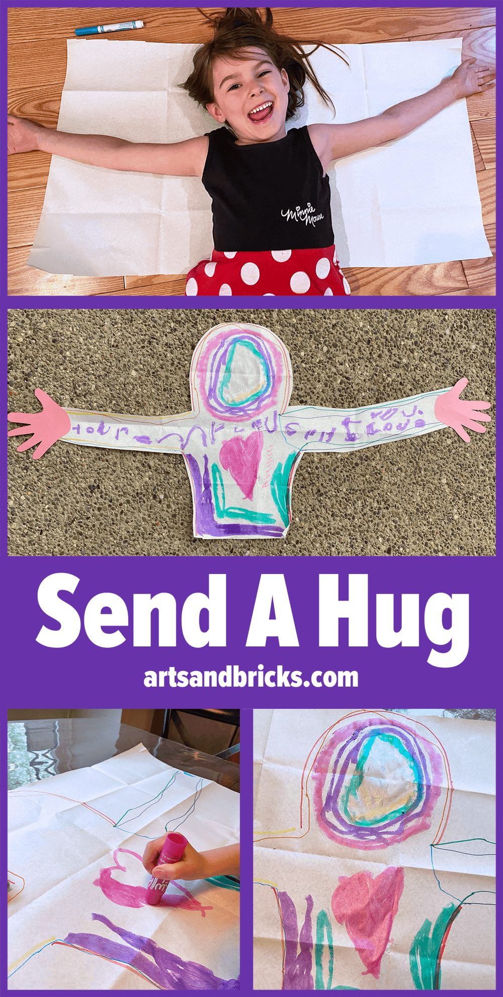 Brighten someone's day! Send a hug from your child. This simple family-friendly craft is perfect for quarantine, grandparents day, deployed parents and more! Get inspired and learn how to create your own from our blog.