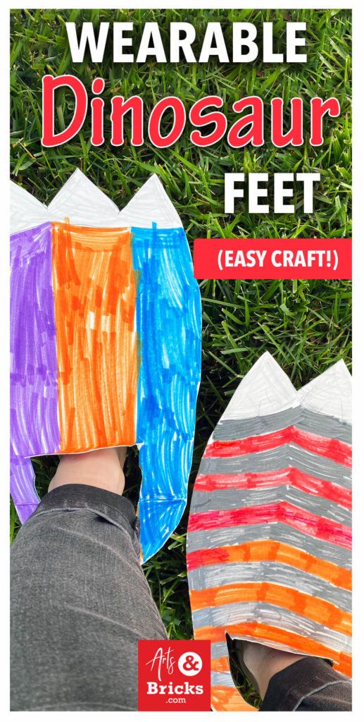 With just thin cardboard, markers, scissors and a bit of creativity, your home can be overrun with dinosaur stomping fun! Read on for inspiration on how to make your child's wearable dinosaur feet.