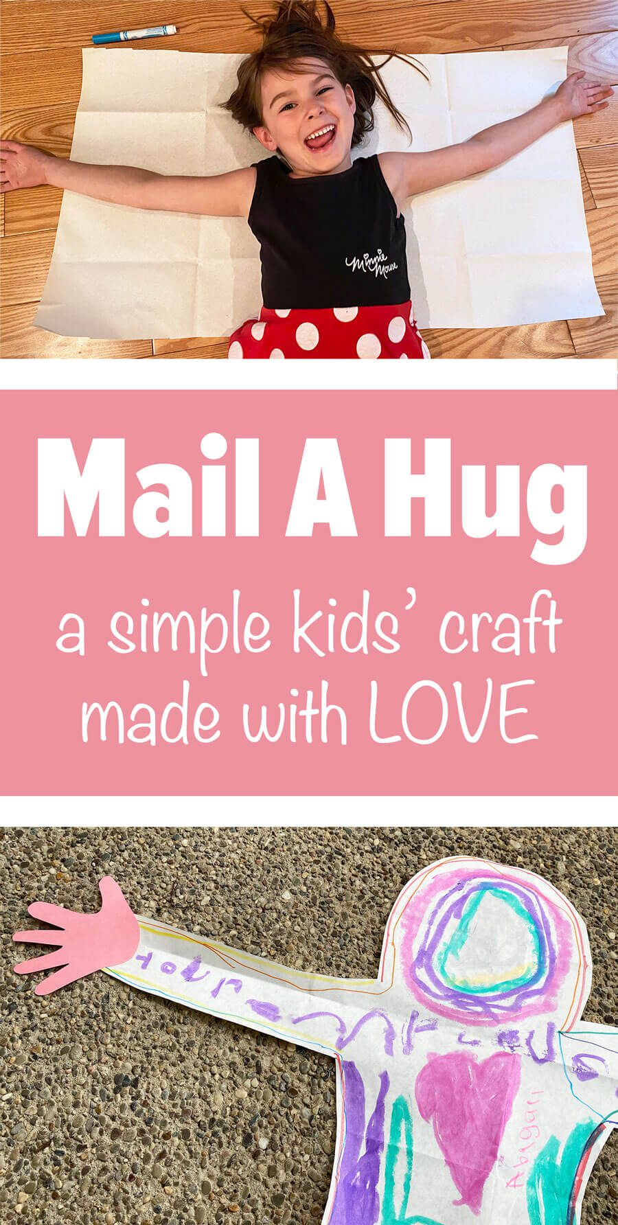 Brighten someone's day! Send a hug from your child. This simple family-friendly craft is perfect for quarantine, grandparents day, deployed parents and more! Get inspired and learn how to create your own from our blog. #diycraft #familyfriendly #shareahug #makeahug #mailahug