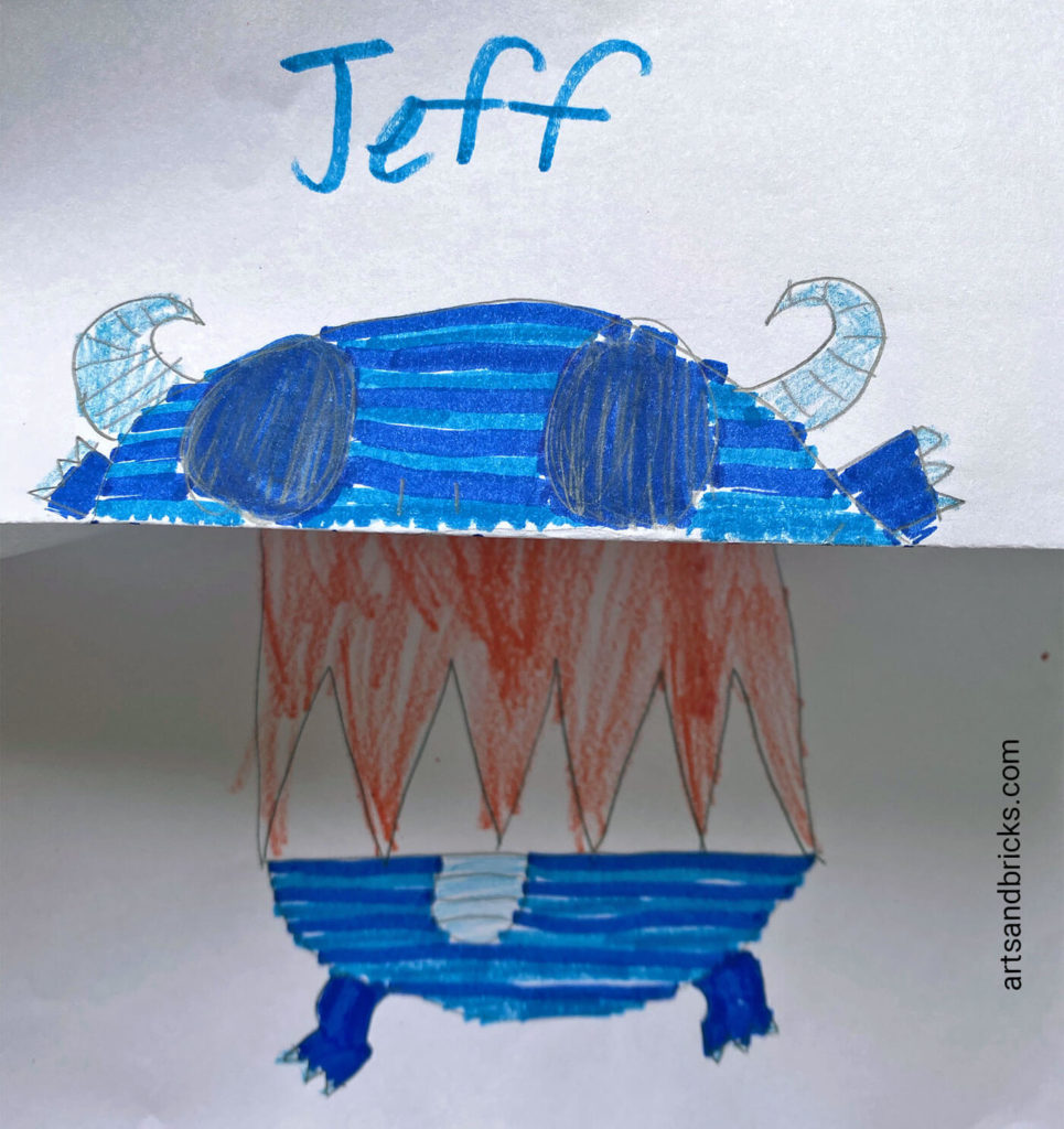 And the big reveal: Jeff is starting to look scary. Make your own DIY Folded Cute/Scary Monster Kids Craft.