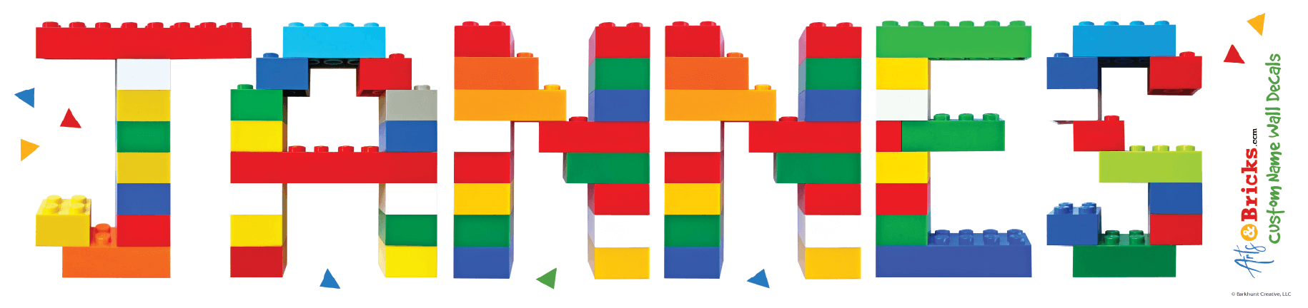 personalized name decoration - built from colorful LEGO bricks