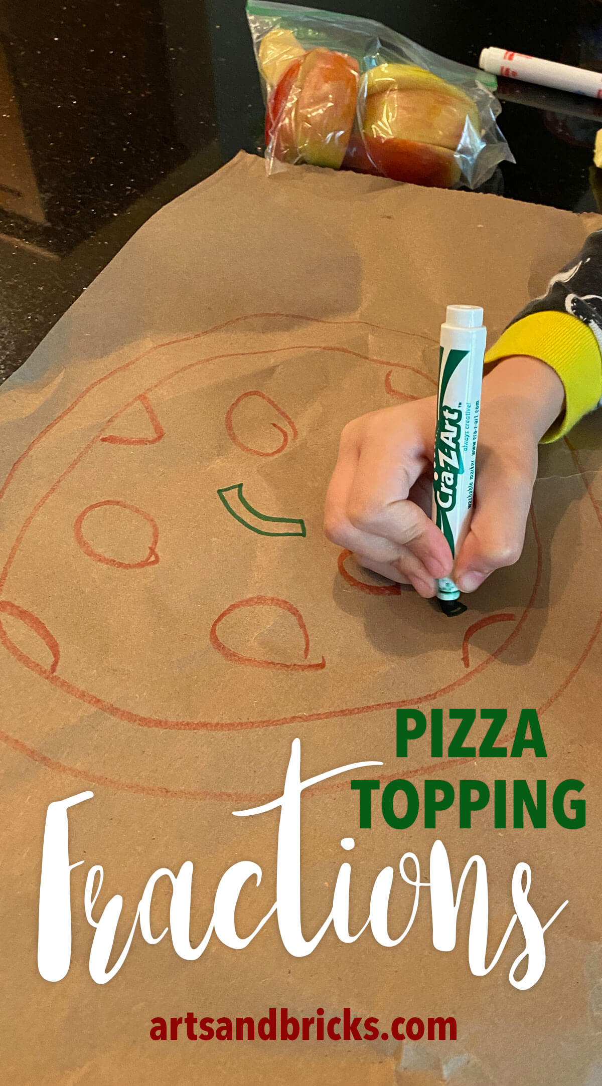Perfect for first, second, or third-grade students this introductory fraction activity helps children visualize fractions by drawing pizza toppings. With no set-up required, you can do this simple activity with just paper and markers. Useful for teacher and homeschooling parents, alike, get inspired by this quick, effective fraction teaching idea. #fractions #steam #math #activity