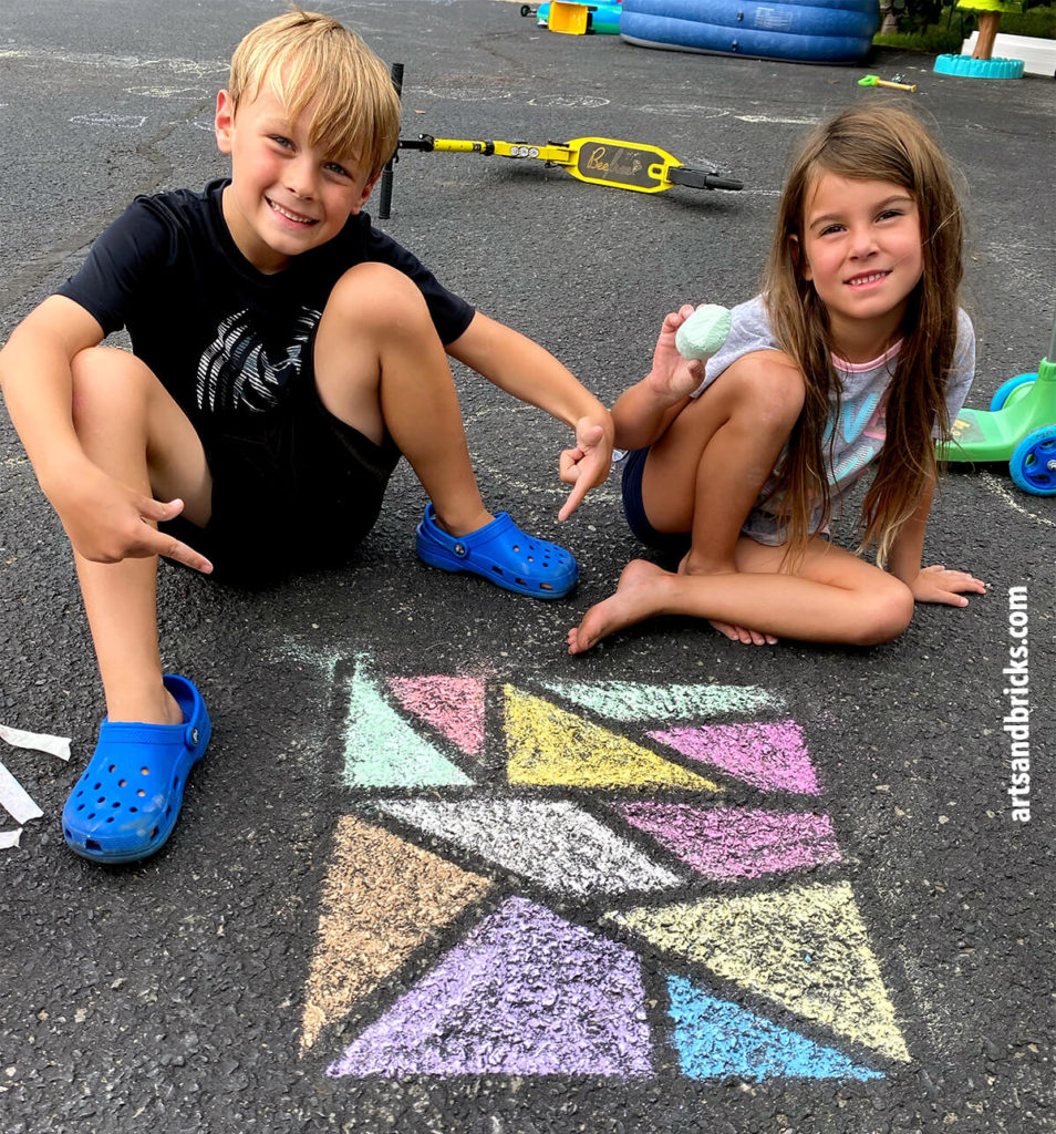 """Learn to make sidewalk chalk mosaics. Have you ever looked at your bucket of sidewalk chalk and thought, """"What do we do with this?"""" Today, I'm here to inspire you with a very simple, family-friendly outdoor chalk art mosaic project. All you need is chalk, tape and a little creativity!"""