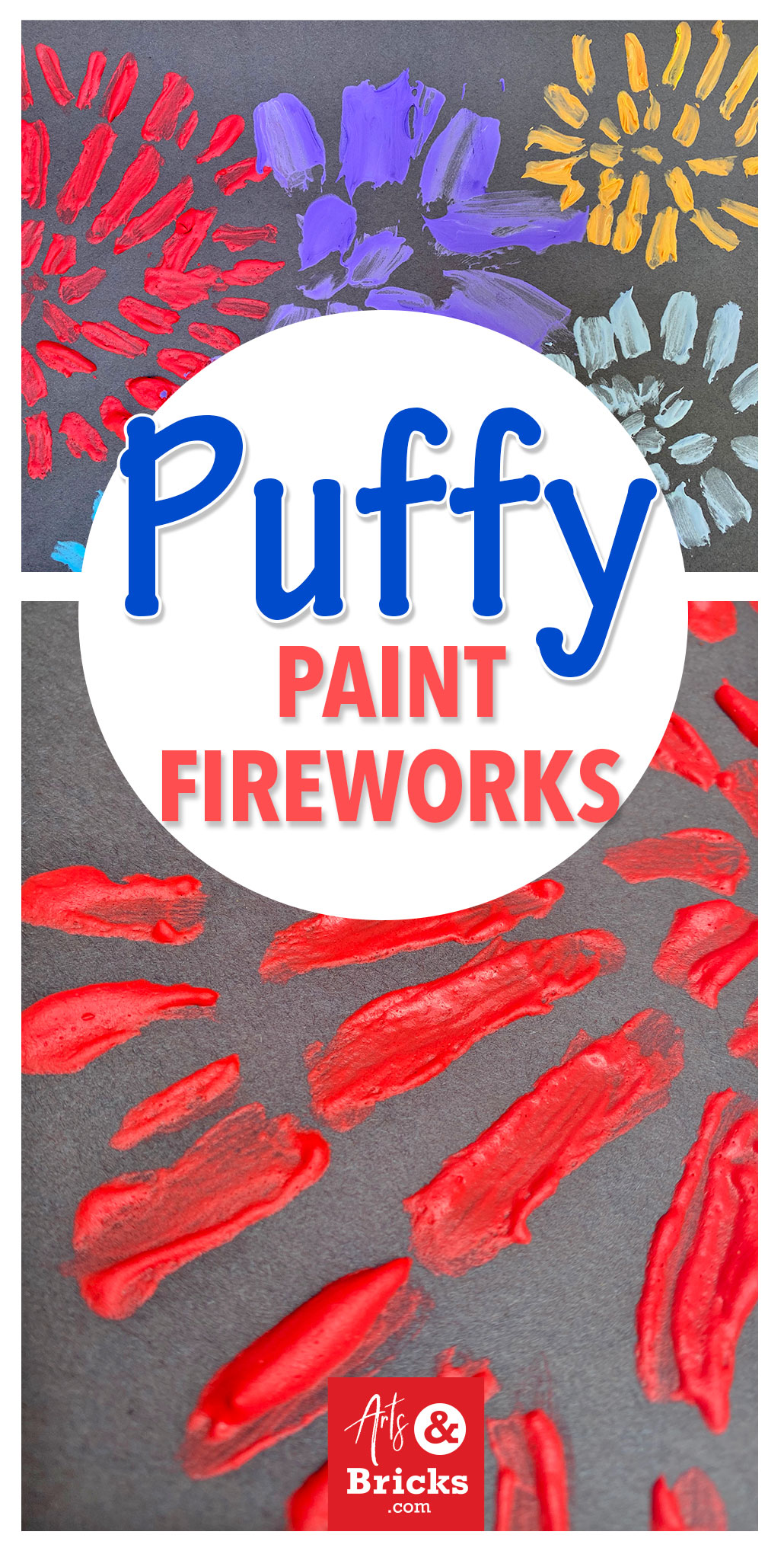 Puffy Paint art projects are especially great for preschool and elementary-aged children because this type of craft only requires FIVE Supplies (shaving cream, white school glue, paper, paintbrushes, and paint) and provides endless possibilities! Perfect for the 4th of July, choose bright paint colors and whip up your own patriotic puffy paint. #kidscrafts #puffypaint #fireworks #4thofjuly