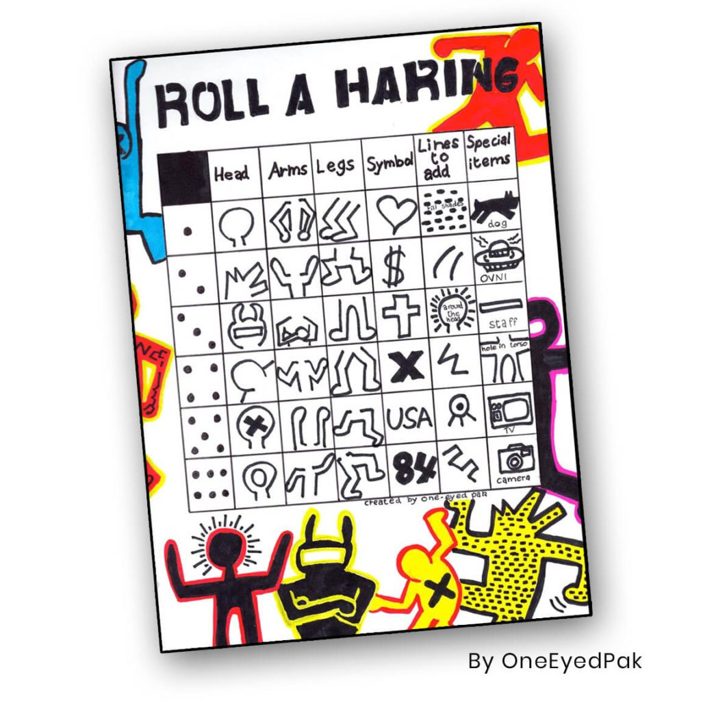 Roll A Haring by OneEyedPak - a fun dice game that teaches kids to look at characteristics of Keith Haring's work and to make their own designs using key features.