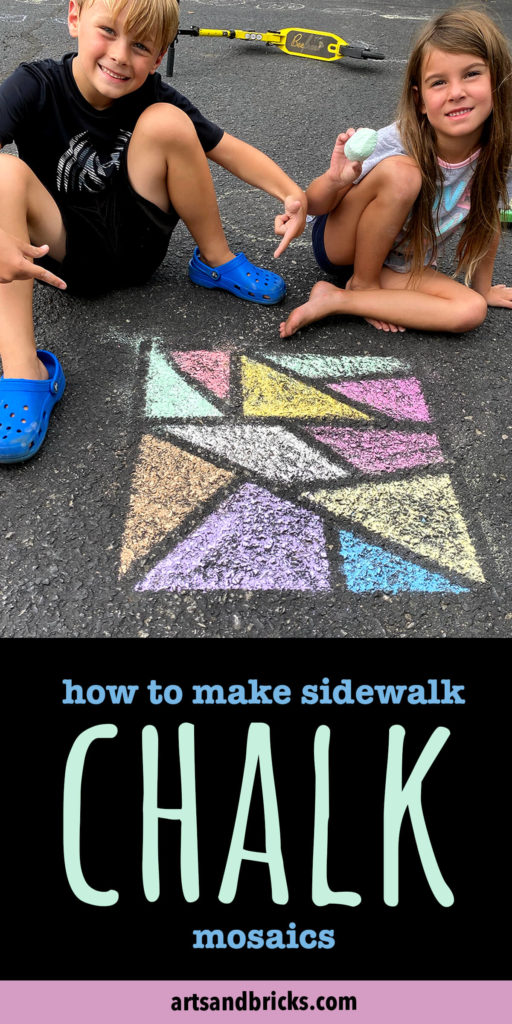 Today, I'm here to inspire you with a very simple, family-friendly outdoor chalk art project: Chalk Mosaic Art. All you need is chalk, tape and a little creativity!