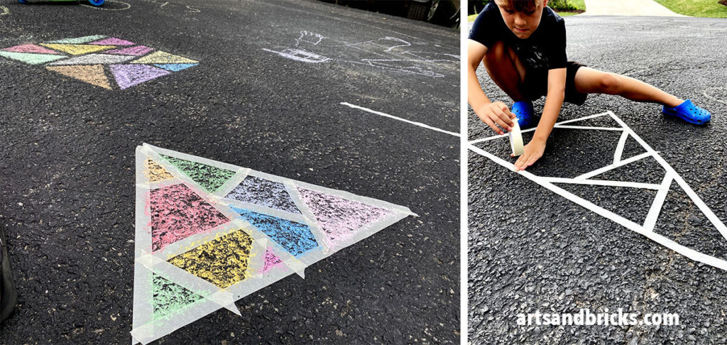 As first-time chalk mosaic makers, we mostly created triangles with the tape, and randomness was the name of our game.
