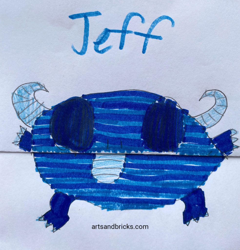 Learn how to create a CUTE/SCARY combo paper folded monster drawing. Perfect for kids!