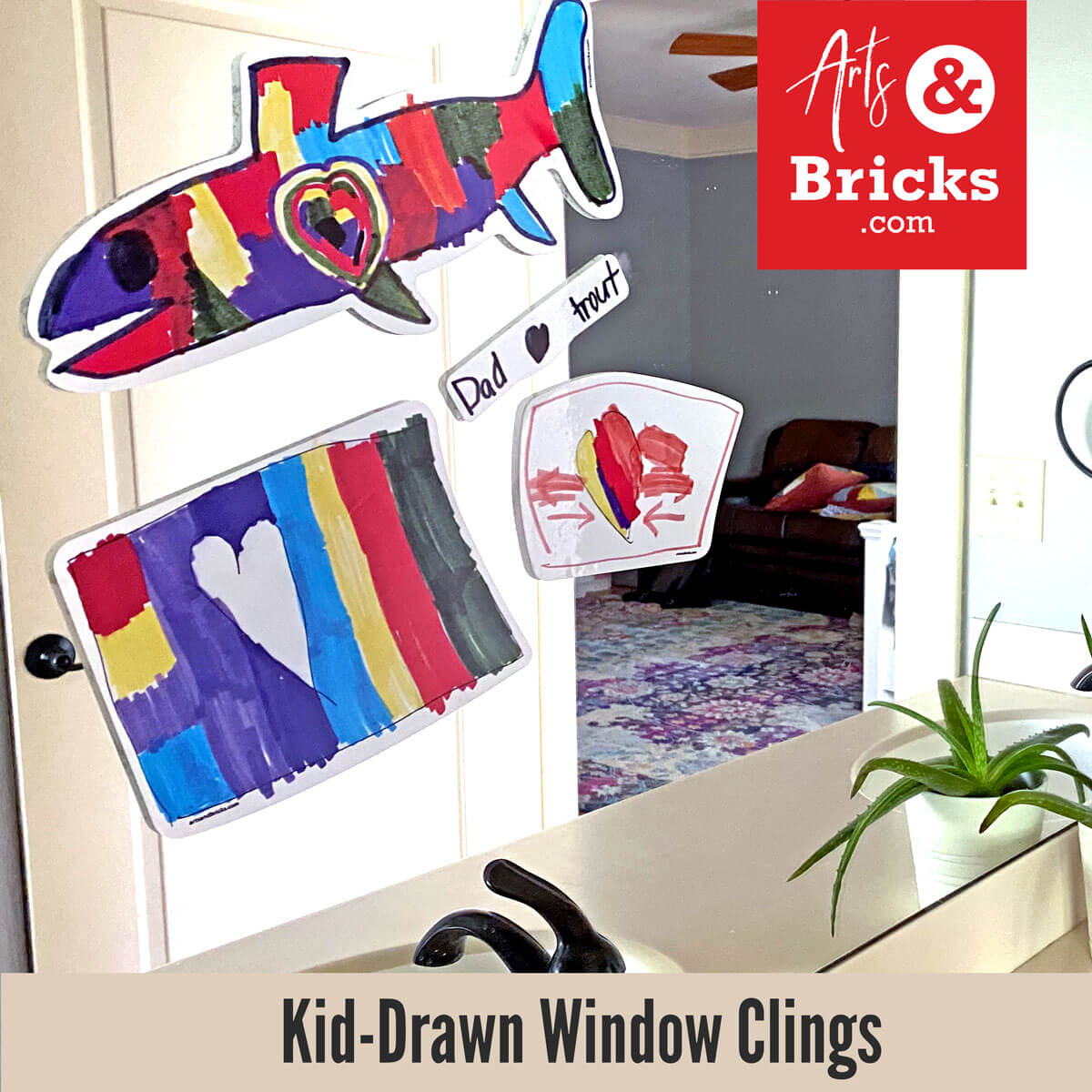 Window clings made from kids artwork for fathers day or as gifts