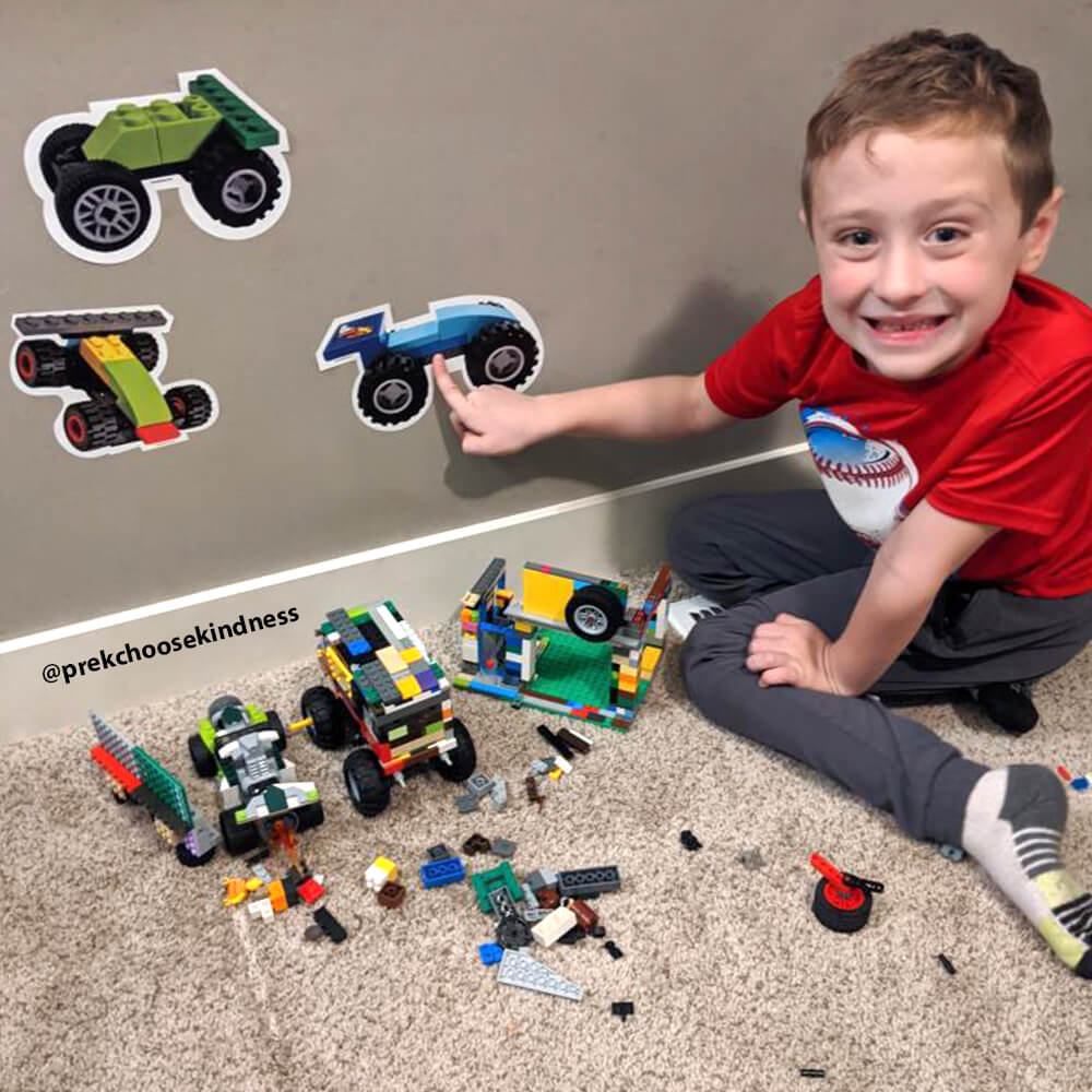 Boy enjoying his LEGO-Brick Built Race Car wall decals